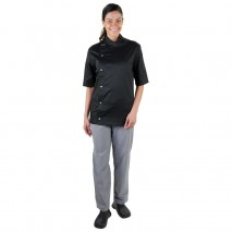 PROCHEF Modern Tunic Chef Jacket Short Sleeve Black Pro