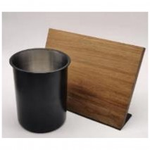Bialetti Acacia and Black Steel Knife Block and Utensil Holder