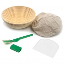 Brunswick Bakers 23cm round banneton with lining, bread lame and dough scraper set