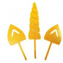 UNICORN SET Cake Topper (Gold glitter)Bake Group,Cooks Plus