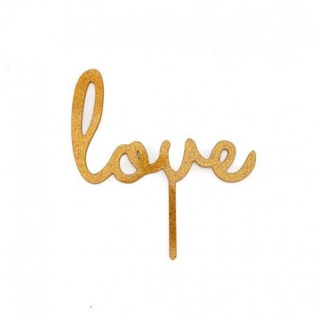 LOVE Cake Topper (Gold glitter)Bake Group,Cooks Plus