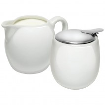 Avanti Camelia Ceramic Milk and Sugar Set Pure White Avanti
