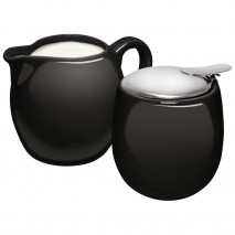 Avanti Camelia Ceramic Milk and Sugar Set Pitch Black Avanti
