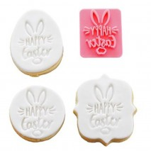 Happy Easter with Bunny Ears Cookie Stamp