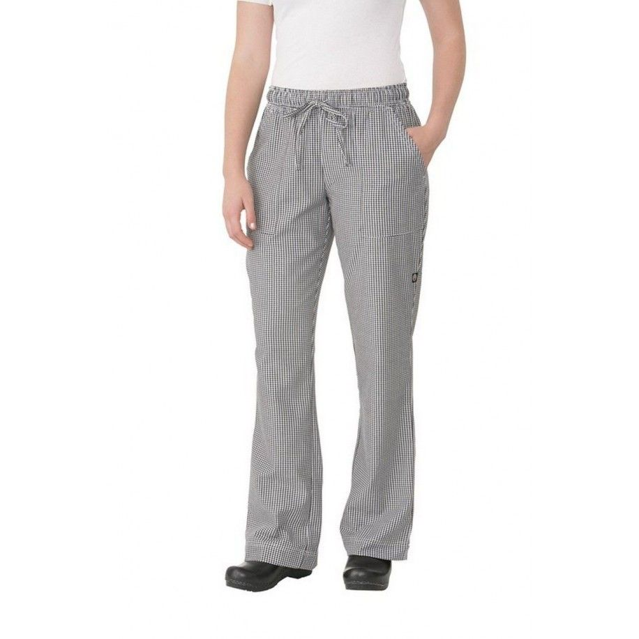 Chef Works Womens Small Check Chef Pants WBAW