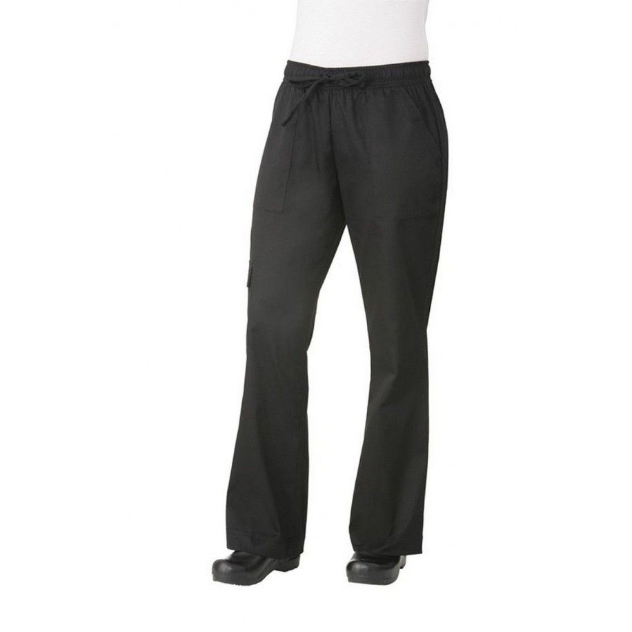 Chef Works Women's Black Cargo Chef Pants XS-3XL - CPWO-BLKChef