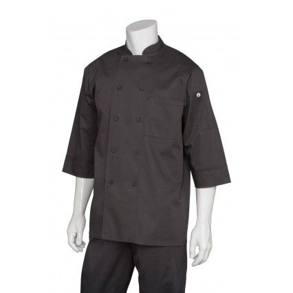 Chef Works 3/4 Sleeve Black Chef Jacket - JLCLChef Works,Cooks