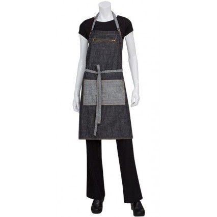 Chef Works Manhattan Bib Apron - Black Denim - AB034Chef