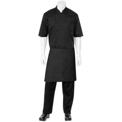 Chef Works 1/2 Bistro Apron - Black - F28