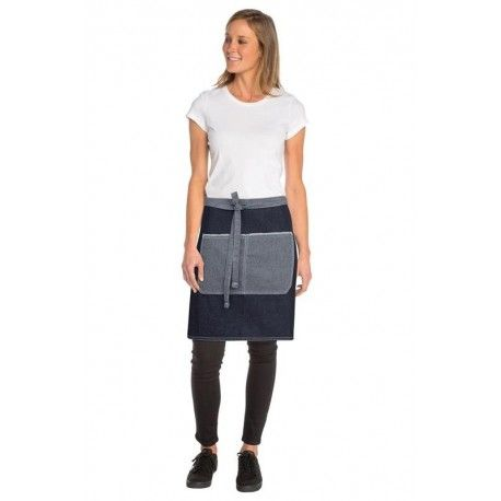 Chef Works Bronx 1/2 Waist Apron - Indigo - AW044Chef