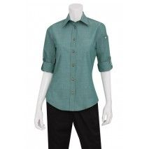 Chef Works Womens Chambray Green Mist ShirtChef Works,Cooks Plus