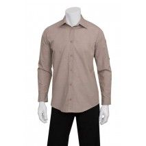 Chef works Mens Chambray Ecru ShirtChef Works,Cooks Plus