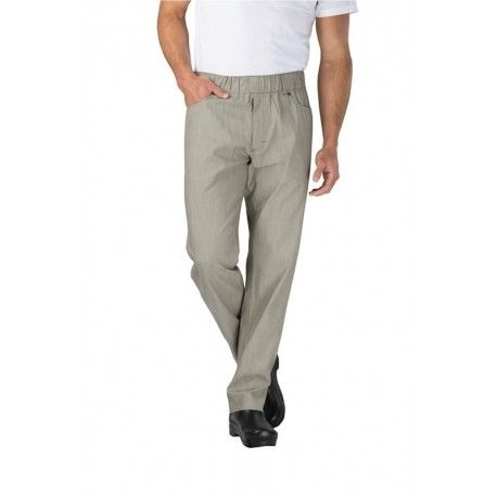 Chef Works Verticle Stripe Taupe Chef PantsChef Works,Cooks Plus