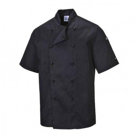 Portwest Kent Chefs Jacket - Black & White Portwest,Cooks Plus