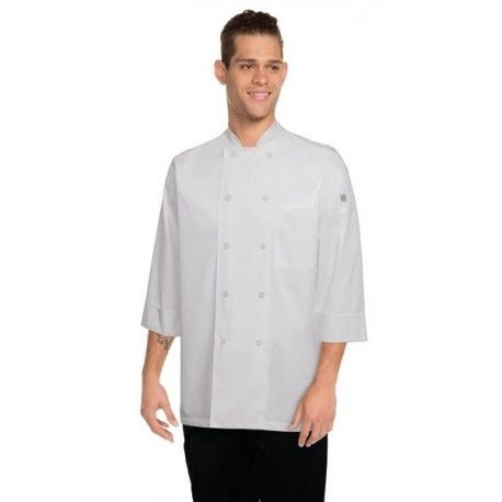Chef Works Morocco 3/4 Sleeve White Chef Jacket - JLCLChef