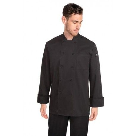 Chef Works Black Calgary Cool Vent Chef Jacket - JLLSChef