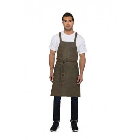 Chef Works Uptown Blue/Taupe Cross-Back Bib Apron