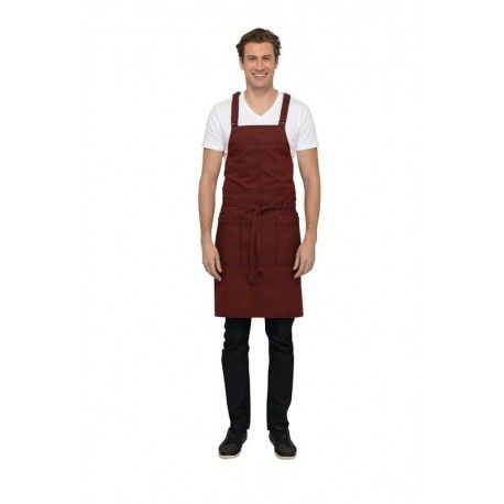 Chef Works Uptown Red/Navy Cross-Back Bib Apron