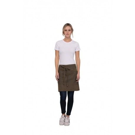 Chef Works Uptown Blue/Taupe Waist Apron