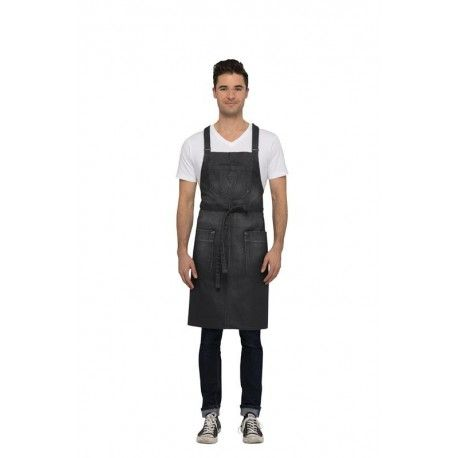 Chef Works Galveston Grey Cross-Back Bib Apron
