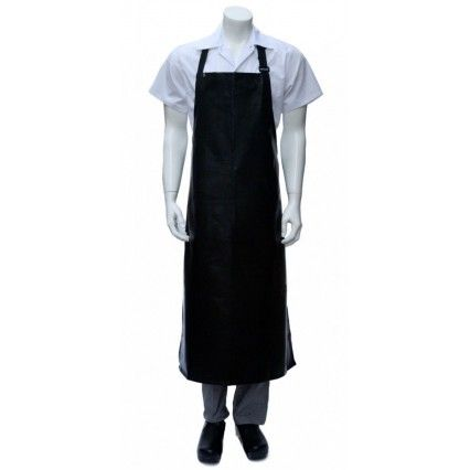 Chef Works Long PVC Bib Apron - Black - Waterproof CWPVLChef